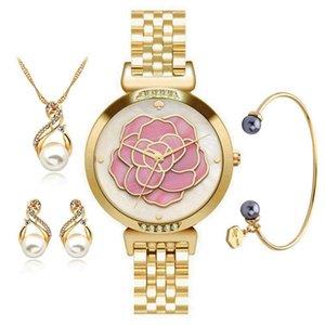 Relevo Pérola Shell Quartz Assista Bracelet Bracelet Necklace Brincos Quatro Conjunto de Papel Luxuoso Ma'am Relógio de Pulso Presente Terno