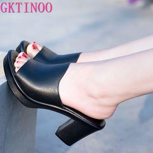 GKTINOO Femmes Slipper 2020 Mesdames été Chaussons Chaussures en cuir véritable Femmes Mode Chaussures d'été Talons