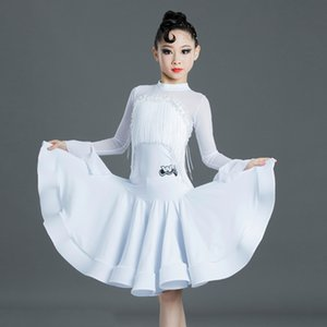 2020 New Girls Latin Dance Dress White Tassel Competition Dresses Rumba Cha Cha Samba Salsa Dancing Performance Wear DN5218