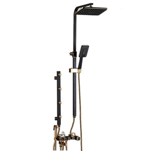Badezimmer Luxus schwarz Goldener showerset mit Bidet Dusche mit Regal Gold Brausegarnitur Bad erweitert Dusche Wasserhahn Sets