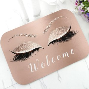 Trendy Rose Gold Glitter EyeLash Lashes Welcome Door Mat Sparkly Makeup Rubber Doormat Rug Carpet Chic Home Beauty Studio Decor Y200527