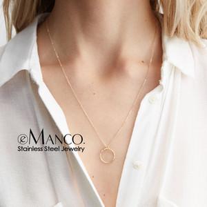 E-Manco Moda Cor de Ouro de Aço Inoxidável Colares Mulheres Minimalista Rodada Colar de Pingente para as mulheres Da Marca Colar de Jóias