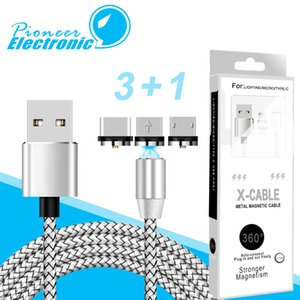 3 in 1 cavo del caricatore magnetico di aspirazione del LED cavo del magnete del metallo più forte di nylon 1m cavo del USB di tipo micro di androide del Android per il pacchetto di androide di Samsung LG