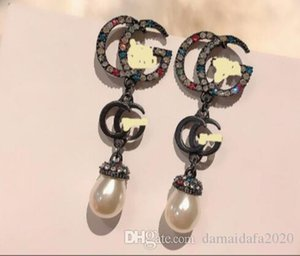 Fashion temperament high quality color diamond pearl long letters female simple trend earrings ear clip jewelry accessories