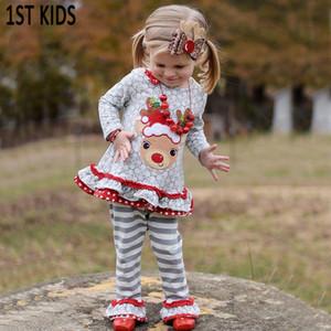 Herbst / Winter Boutique Heiligabend hightmare Deer Kleid Baumwollkleidung Kinder Outfits Babys grau Hosen DB469 T200707