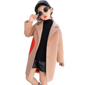 Девочки шерстяные смеси пальто для детей в форме сердца верхняя одежда девочки осень зима куртки 4 5 6 7 8 9 10 11 12 лет прохладно пальто
