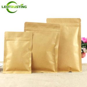 Leotrusting 100pcs / lot Resealable 플랫 하단 크래프트 종이 지 플락 포장 가방 종이 우편 주머니 커피 가루 선물 종이 스토리지 가방