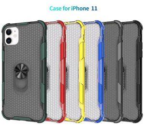 Nouveau Annulaire Holder Case magnétique voiture Béquille cas de téléphone hybride transparent armure pour iPhone 11 Pro Max XR Samsung note10