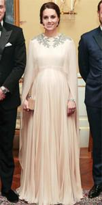 Kate Middleton Dubai Evening Prom Dress Moroccan Kaftan Chiffon Donna lungo formale abiti da sera abiti da sera musulmani Custom Made