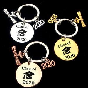 Stainless 2020 graduação Keychain do estudante da graduação Chapéus chaveiro 2020 da graduação da classe presente portátil pequeno Keychain Prata BH3181 TQQ