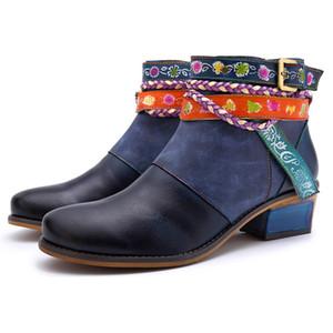 botas azules mujeres genuinas Botines de cuero mujer 2019 zapatos de la flor de la plataforma de costura cremallera mujer tacón cuadrado TSDFC Schoenen