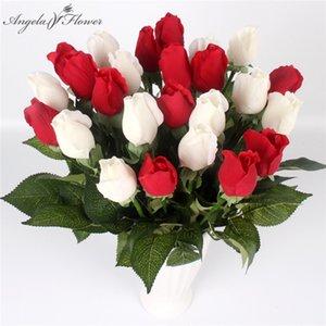 Presente do dia Hidratante Rose 15pcs / lot real Toque PU Latex Rose Poder Artificial flor DIY Início da flor do casamento dos Namorados Decor