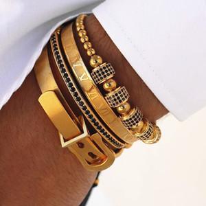 4pcs / Hot Set Hommes Bracelet Titane Acier Boucle romaine numéral en fer à cheval Bangles Pulseira Bileklik bijoux faits à la main