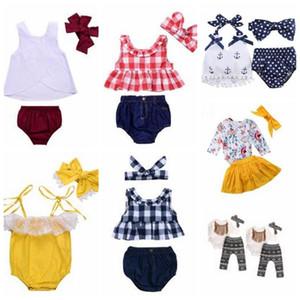 Bebek Giysileri Kız Izgara Püskül Takım Elbise Çocuklar Puantiyeli Çiçek Giyim Setleri Moda Butik T Shirt Tulum Bezi Pantolon Bandı Kıyafetler 4905