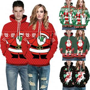 2019 Parejas de Navidad más nuevas mujeres de los hombres del suéter con capucha de la chaqueta de Navidad caliente unisex con capucha de la capa suéter superior Sudaderas