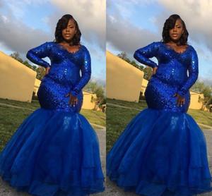 Sparkly Royal Blue Sequin Plus Size Ocasião Especial Vestidos Noite Vestidos formais de mangas compridas Applique Sereia Partido Prom Vestidos Barato