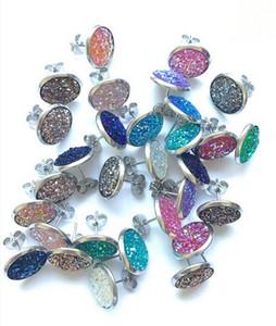 Aço inoxidável 12 milímetros de resina colorida Gravel druzy brincos Gypsophila Hipoalergênico Brilhante Brincos para Mulheres Meninas