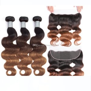 13x4 Lace Frontal Closure With Bundles Ombre Brazilian Body Wave 3 Bundles With Frontal Closure Blonde Human Hair Weave Color 1b 4 27 30