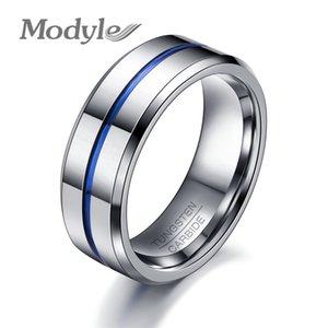 Modyle 2018 Mode Fine Ligne Bleue Tungstène Anneau De Mariage Marque 8mm Carbure De Tungstène Anneaux Pour Hommes Bijoux T190624