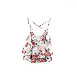 Womens Summer Female Casual Contrast Color Unerwear Sexy Camisole Floral Tanks Womens Designer O Neck Vest