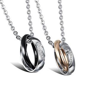 Para sempre o amor casal colares coração diamante s925 sterling silver ouro 14k encantador romântico designer de jóias das mulheres dos homens colar de aniversário