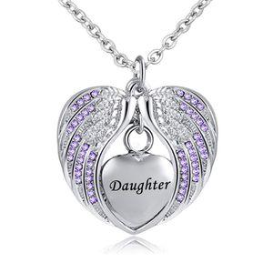 Bonheur Charme Pendentif urne commémorative Collier En Acier Inoxydable Étanche aile D'Ange souvenir crémation bijoux pour fille