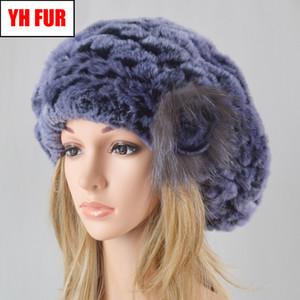Yeni Kadın Gerçek 100% Doğal Rex Tavşan Kürk Bere Şapkalar Kış Sıcak Rex Tavşan Kürk Lady El Yapımı Örme Çiçek Beanies Caps Kap