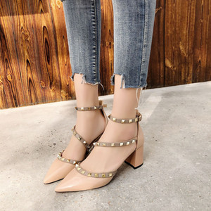 Thick heel women's shoes fashion shoes 2020 summer new high heel sandals female pointed rivets women's shoes