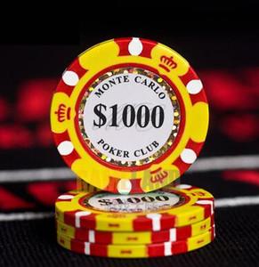 Chips Poker Céramique 14g Set Coins Clay Casino 40mm Coin Poker Chips Divertissement Dollar Coins 3pcs / paquet