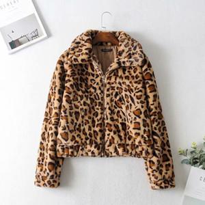 Moda Yeni Jiajia 65-9896 Avrupa ve Amerikan moda leopar kürk kısa ceket