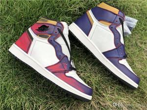 2019 x SB presse 1 Dunk Haute Cour OG Violet Hommes Chaussures de basket-1S en cours Chaussures de sport authentique cuir véritable viennent avec la boîte CD6578-507
