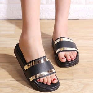 Summer European slippers outside anti-skid platform shoes woman all-match metal bling flip flops beach muffin slides mujer