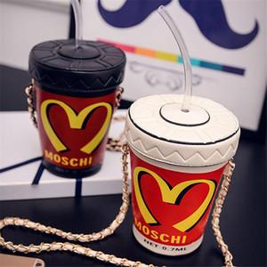 Bolso de la cadena de la personalidad de la PU-cubo de Mujeres Cola Copa tarde del bolso creativo solo hombro oblicuo Cruz pequeña cadena bolsos