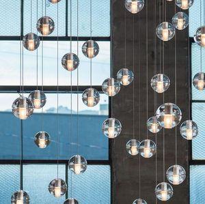 LED кристалл стеклянный шар Подвеска Meteor Rain Light звездопад лестничные Бар Droplight Потолочные люстры Освещение AC110-240V
