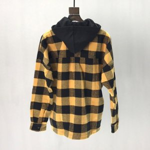 PA Europe and the United States tide brand hooded shirt PA brown color plaid long-sleeved shirt for men and women