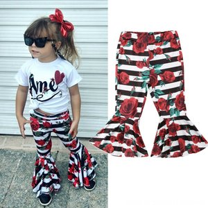 Toddler Kids Baby Girls 16Y Flare Stripes Floral BellBottoms Long Leggings Trousers Toddler Kids Baby Girls 16Y Flare Pants Stripes Floral B