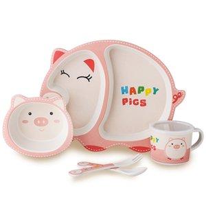 5-Piece Baby Cutlery Set Bamboo Fiber Cute Cartoon Children Feeding Tableware
