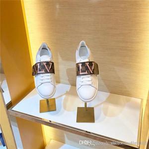 Mujeres frontrow las zapatillas de deporte de cuero blanco ternero de un Correa ancha de 2019 Última gran tamaño zapatilla de deporte de cuero plano de Formadores Tamaño 34-42