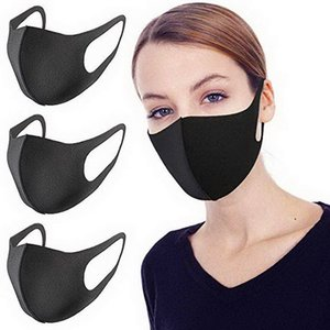 20 PCs siyah Pm2.5 yıkanabilir ağız maskesi Anti Pus toz maskesi burun filtre rüzgar geçirmez yüz bez solunum