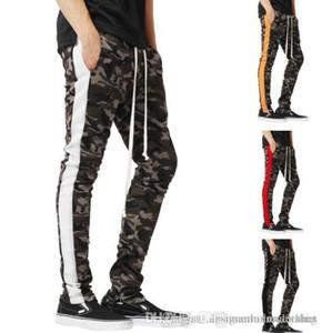 Los pantalones elásticos de la cintura del basculador de la primavera de rayas de lápiz del Athletic Casual lápiz de los pantalones para hombre de camuflaje deporte