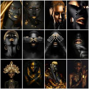 AZQSD DIY 페인트 번호 블랙 골드 아프리카 여자 유화 캔버스 벽에 캔버스 벽 그림 거실 현대 수제 선물