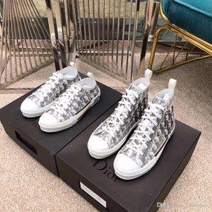 Dior Tenis de corte alto Dior hococal Por los zapatos Kim Jones Diseño clásico de la manera oblicua con impresión de logotipos Hombres Mujeres baloncesto del Calzado