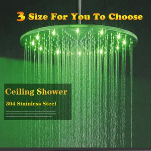 Unqie 12 인치 30x30CM 라운드 욕조 Showerhead 워터 글로우 전원 LED 라이트 변경 강우 샤워 헤드 GK0236