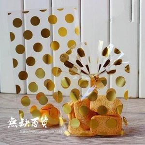 100 개 골드 호일 폴카 도트 오픈 최고 셀로판 가방 쿠키 가방 웨딩 캔디 선물 Opp 포장 파티 호의