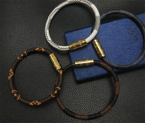 Pelle marchio di moda con LOGO progettista braccialetti dei braccialetti per le donne del partito Mens gioielli di lusso di nozze per la sposa con gli amanti regalo di fidanzamento