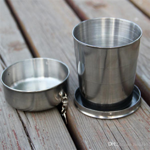 Nuevos todos de acero inoxidable tazas telescópicas toda de acero plegable de acero taza taza para beber la copa de vino 140 ml Frascos de la cadera 3034
