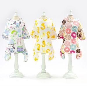 Spring Summer New Pet Four Feet Cotton Home Outfit Dog Pajamas Leisure Cartoon Fruit Pattern Pet Pajamas