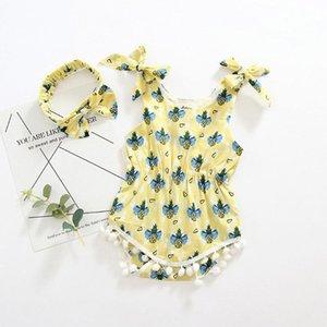 Newborn maniche pagliaccetto infantile delle neonate Strap Ananas Stampa i pagliaccetti pagliaccetto tuta Outfits vestiti di estate per la neonata