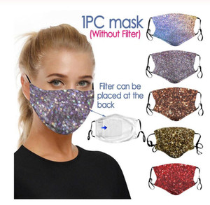 3D Printing Sequin Mouth Mask Rhinestone Masquerade Crystal Face Veil Decoration Club Mask Bling Gold Glitter Face Dust Cover Party Mask