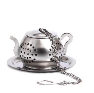 venta al por mayor 300pc / lot Forma Tetera olla de acero inoxidable hoja de té Infuser Filtro Colador bola Cuchara
